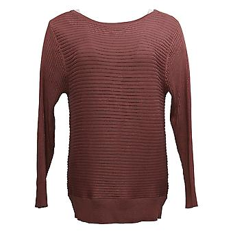 Skinnygirl Women's Sweater Casey Boatneck Rib Knit Purple 716794