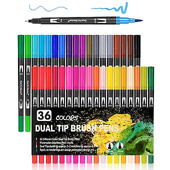Watercolor Brush 36 Color Watercolor Marker Pen Double Tip Sketch Painting Set School Art Supplies