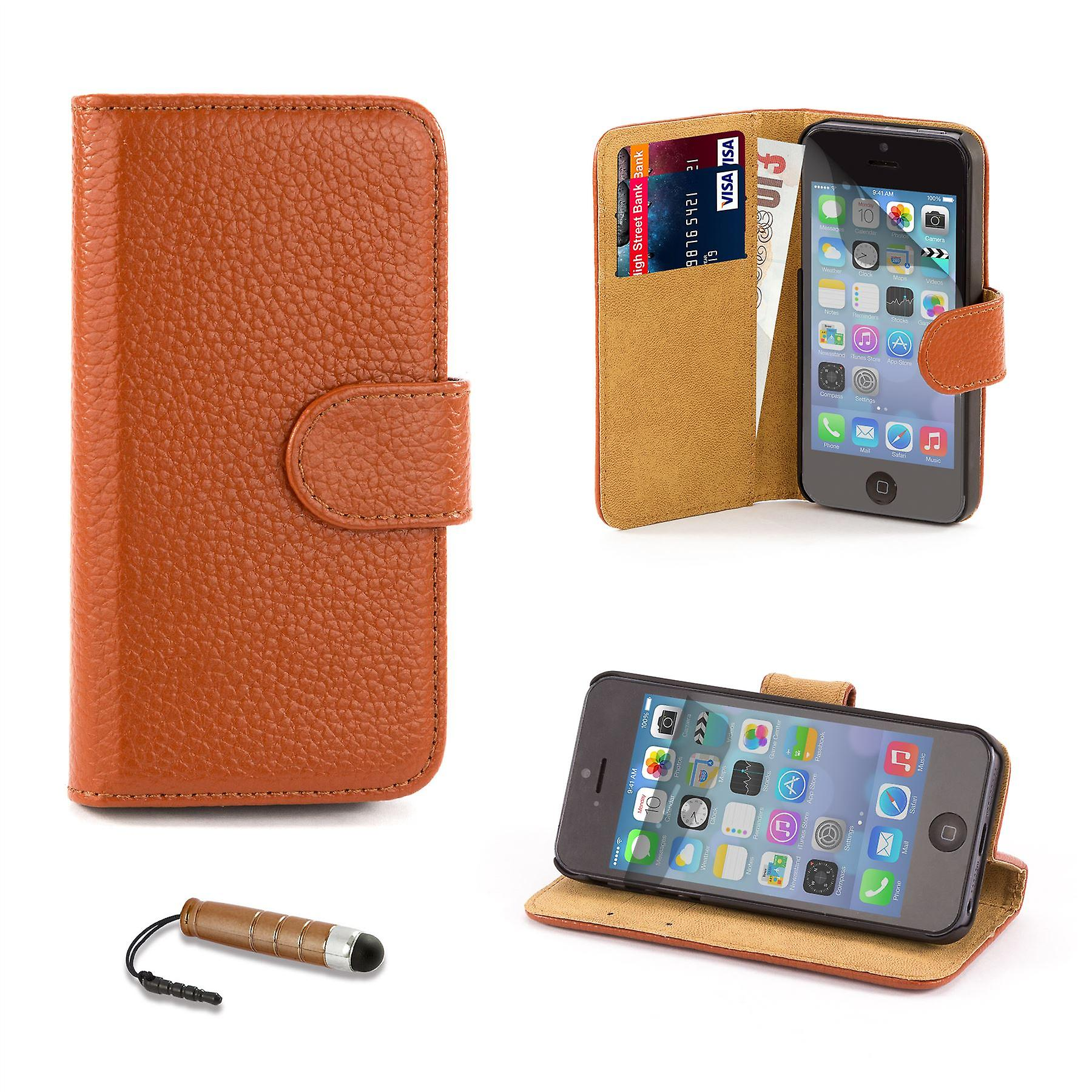 Premium Book Leather Case Cover for Apple iPhone 5 5S SE - Light Brown