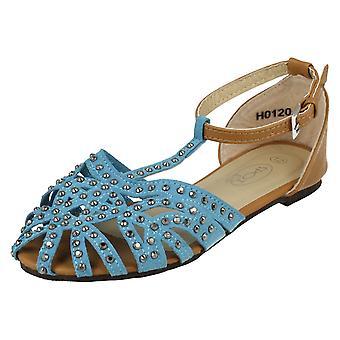 Flickor plats på T-Bar Diamonte sandaler H0120