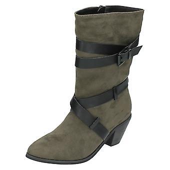 Ladies Spot On Mid Calf Boots F50454