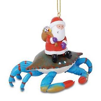 Santa Riding Maryland Blue Crab Christmas Holiday Ornament