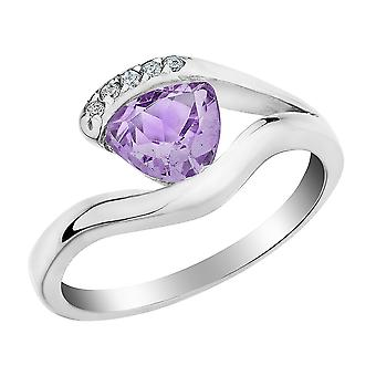 Created Alexandrite Ring 2/5 Carat (ctw) with Diamonds in Sterling Silver