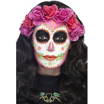 Schmink Set Day of the Dead Mexico 4 Farben mit Spachtel neongrün pink orange weiss