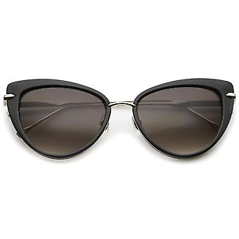 Women's Glam High Fashion Ultra Thin Metal Temple Cat Eye Sunglasses 55mm