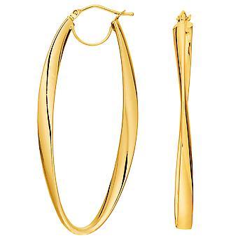 14K Gold 2mm glänzend gewellt Creolen