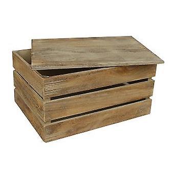 Grande effetto rovere a doghe con coperchio scatola portaoggetti in legno