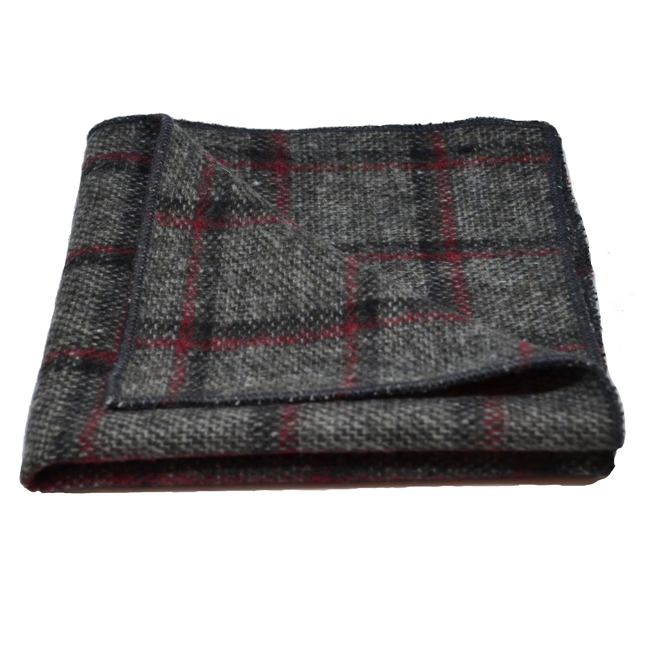 Heritage Pebble Grey Check Bow Tie & Pocket Square Set