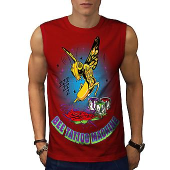 Bug de abelha Tattoo moda homens RedSleeveless t-shirt | Wellcoda