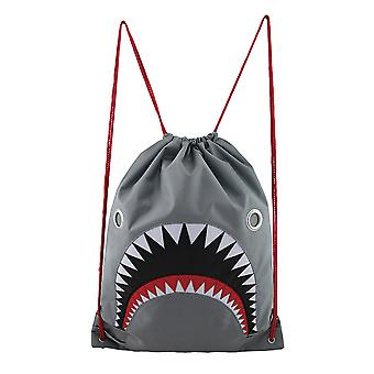 Mean Gray Shark Nylon Drawstring Backpack