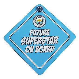 Manchester City FC offizielle zukünftige Superstar Fußball Crest Baby on Board Autokennzeichen