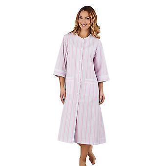 Slenderella HC1224 Frauen Streifen Seersucker rosa Morgenmantel Loungewear Robe 3/4 Länge Ärmel Bademantel