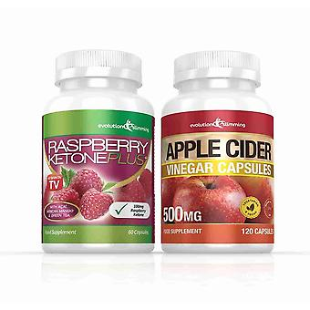 Raspberry Ketone and Apple Cider Vinegar Capsules Combo Pack - 1 Month Supply - Weight Management Combo Pack - Evolution Slimming