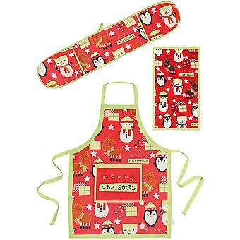 Conjunto de cozinha 3 peças Natal Mens & Womens pinguim Rudolph de boneco de neve