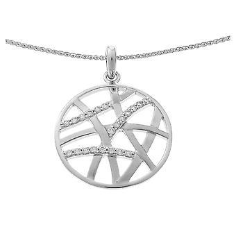Orphelia plata 925 cadena con colgante redondo + líneas circonio ZH-7098