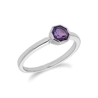 Geometrische Sechseck Amethyst Lünette Set Ring in 925 Sterling Silber 270R055703925