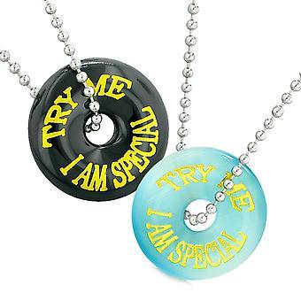 Try Me I Am spécial Fun meilleurs amis amour Couples amulettes bleu simulé Cats Eye Agate colliers