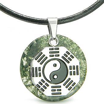 Yin Yang BA GUA acht trigrammen Amulet groene Moss Agate cirkel positieve kracht hanger ketting