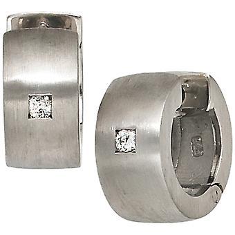 Sterling sølv frostet hoop øredobber 925 sølv rhodium-belagt diamanter ørepynt med 2 diamanter
