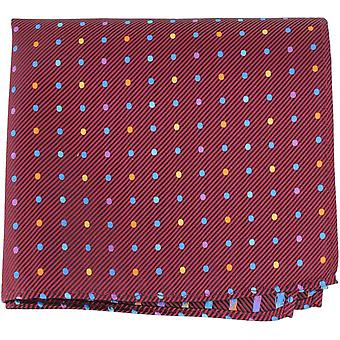 Knightsbridge Neckwear Multi broches Dot soie mouchoir de poche - Bourgogne/Multi-colour
