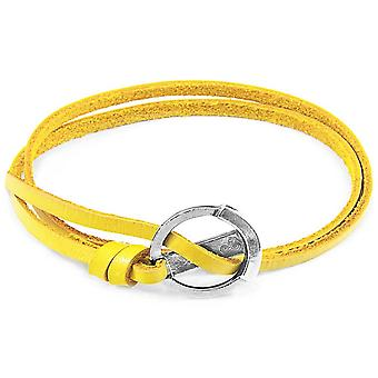 Anchor and Crew Ketch Anchor Silver and Flat Leather Bracelet - Mustard Yellow