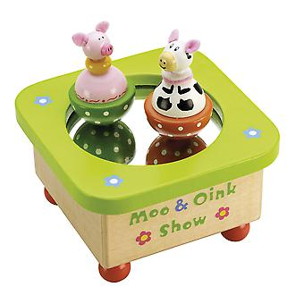 Tidlo Wooden Moo & Oink Music Wind Up Musical Box Traditional Gift
