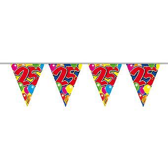 Chaîne de fanion 10 m 25 ans numéro anniversaire décoration guirlande de parti