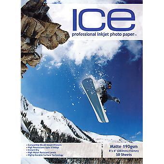 "50 x ICE Pre-Cut 8""x6"" Photo Card - Inkjet Printing Paper - Matte 190gsm - Professional Premium Photographic Paper"