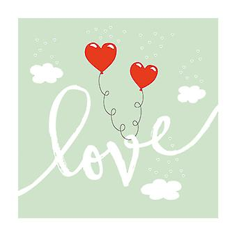 Ambiente 3 Ply Paper Lunch Napkins, Love Balloons Mint