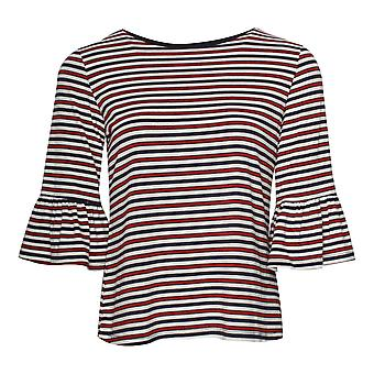 Leo & Ugo Shimmer Stitch Pinstripe Bell Sleeve Top