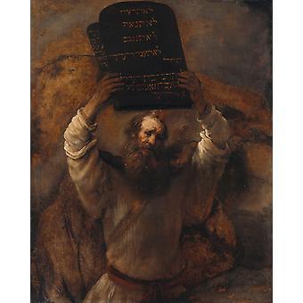 Mozes met de tabletten van de wet, Rembrandt, 50x40cm