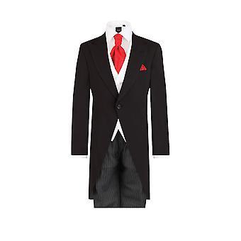 Dobell Herre sort 2 stykke morgen trop med stribede bukser regelmæssig pasform