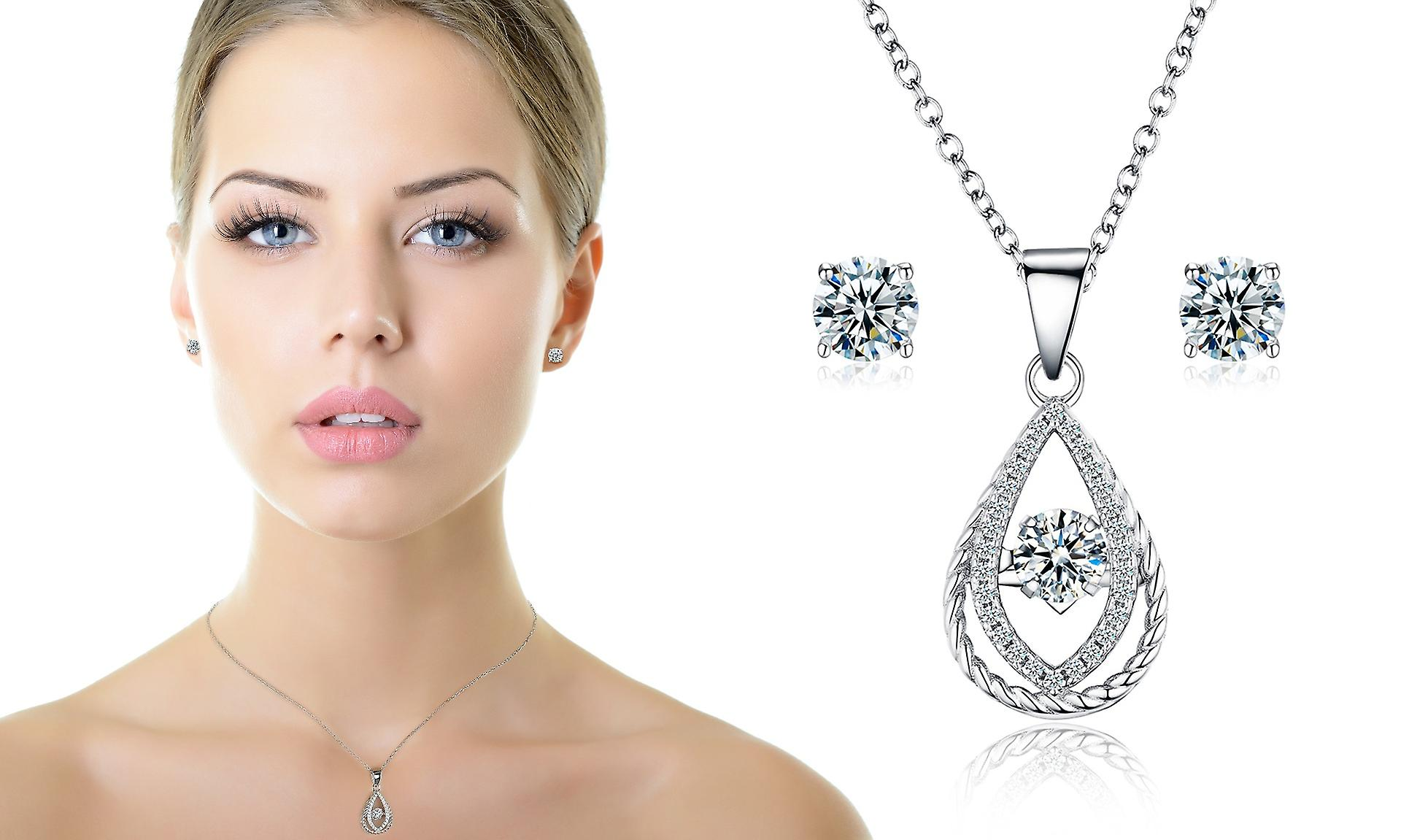 925 Sterling Silver Dancing Pendant Necklace & Matching Stud Earring Set - Style 1