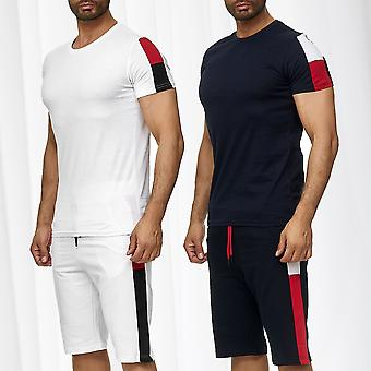 Men Sports Set T-Shirt Shorts Combi Tricolore Two Piece Shortsleeve Jersey Pants