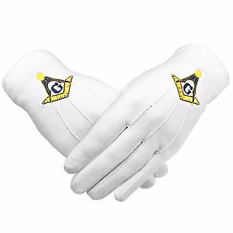 Masonic Gloves Yellow Square compass with G Machine Embroidery