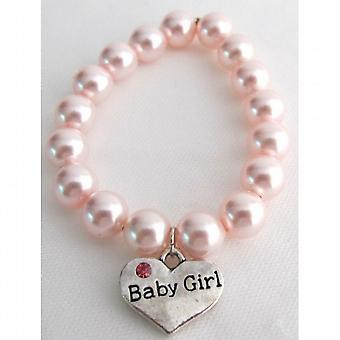 Nace bebé bebé niña encanto suave Rosa Perla pulsera joyería