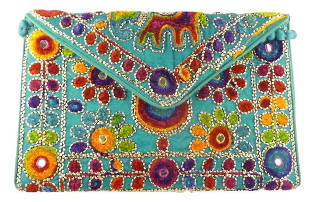 Silk Handbag Peacock Clutch Blue by Silk Sauvage at Pashmina & Silk
