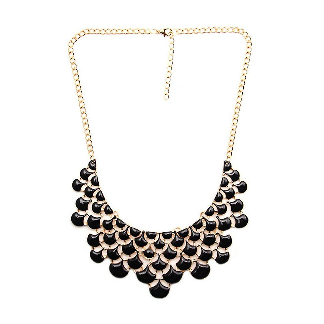 Ladies colourful flower style jewel statement crystal necklace