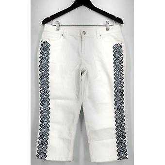 OSO Casuals Jeans Embroidered Side Capri with 5-Pocket White Womens A429408