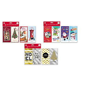 Pack 4 Hand Crafted Christmas Money Voucher Wallets