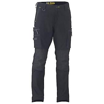 Bisley Flex & Move Stretch Utility Cargo Trousers With Kevla Waist 40R 102 Black