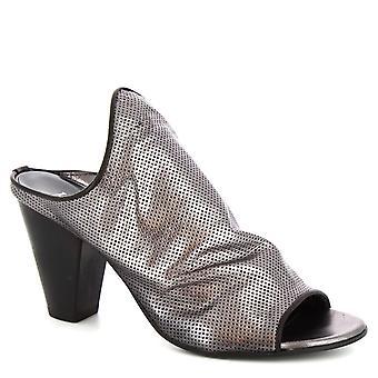 Leonardo Shoes Femmes-apos;s sandales à talons faits à la main en cuir de veau argenté