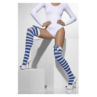 Womens blauw & wit gestreepte ondoorzichtige Hold-Ups met bogen Fancy Dress accessoire