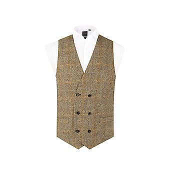 Scottish Harris Tweed Mens Brown Tweed Waistcoat Regular Fit Double Breasted Windowpane Check