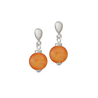 Eternal Collection Hacienda Orange Jade Silver Tone Drop Screw Back Clip On Earrings