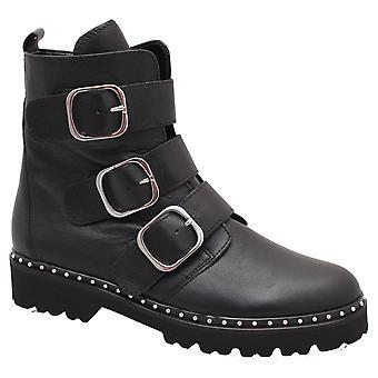 Gabor Babe Black Buckle Biker Style Bottine Boot
