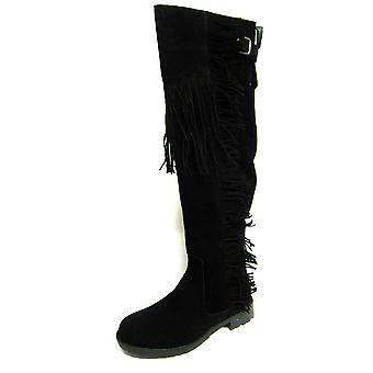 Ladies Spot On Boots F50488 Black Suedette Size 4 UK