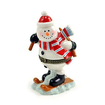 Winter Wonderland Snow Skiing Snowman Porcelain Hinged Trinket Box