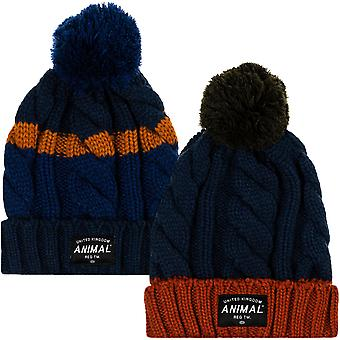 Animal Mens Canye Knitted Warm Roll Up Cable Chunky Knit Bobble Beanie Hat