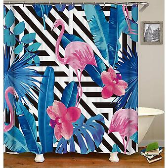 Flamingos And Leaves Shower Curtain